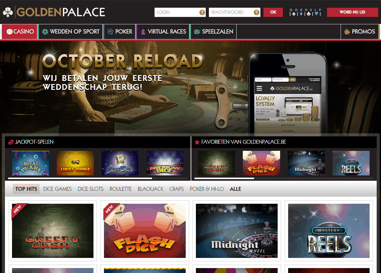 Nieuwe website GoldenPalace.be