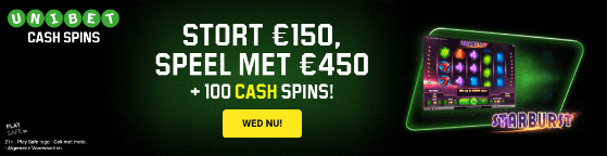 100 Cash Spins bij Unibet.be