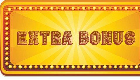 Gouden button met 'extra bonus' op