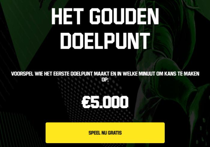 Gouden Doelpunt Golden Goal Unibet Sport Casino speelhal Predictor Voorspel Gratis €5.000 Champions League 2021 Toppromo's