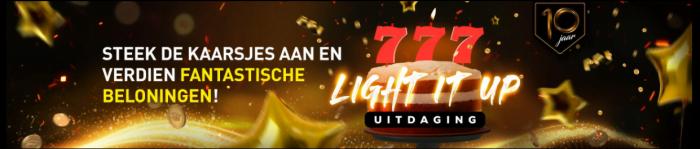 Light It Up uitdaging Casino 777 online speelhal Promo verjaardag 2021 Geldkluis tokens Jackpot